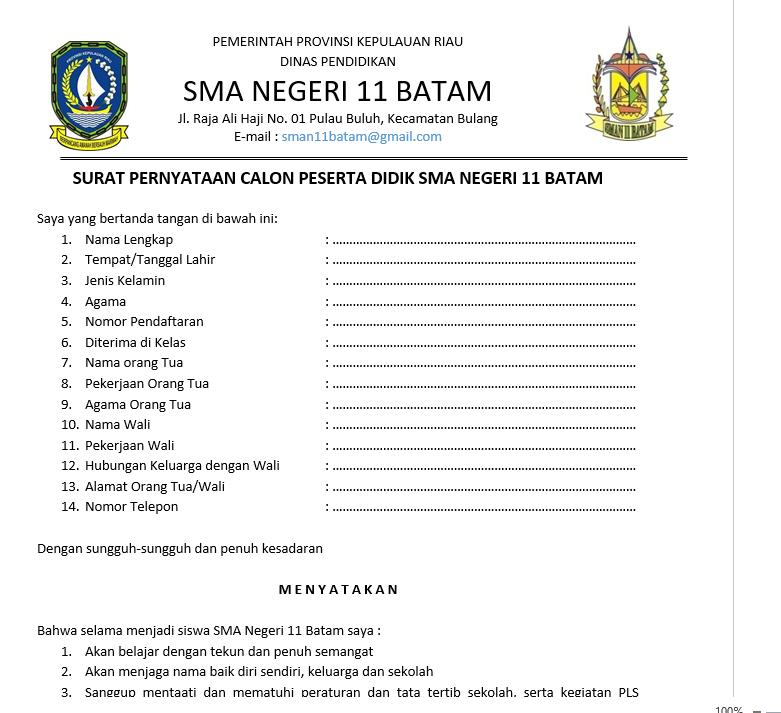 Download Surat Pernyataan Siswa Orang Tua dan Wali - SMAN ...